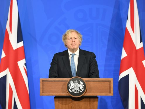 Prime Minister Boris Johnson during a media briefing in Downing Street, London, on coronavirus (Stefan Rousseau/PA)