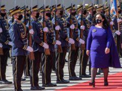 Kosovo's newly elected president Vjosa Osmani-Sadriu, inspects the Guard of Honour (Visar Kryeziu/AP)