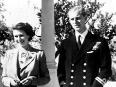 The Duke of Edinburgh with the Queen in the garden of the Villa Guardamangia in Malta in 1949 (PA)
