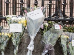 Floral tributes to the Duke of Edinburgh outside Buckingham Palace (Ian West/PA)