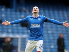 Rangers' Ryan Kent celebrates his 12th goal of the season in the champions' 2-1 win over Hibs (Andrew Milligan/PA)