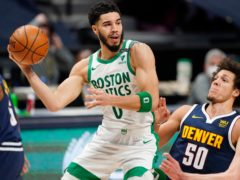 The Denver Nugget' eight-game streak of victories ended with an emphatic 105-87 loss following an intense-second half passage of play from the visiting Boston Celtics (David Zalubowski/AP)