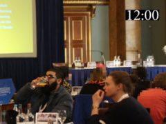 Usman Khan and Saskia Jones sat at a table together at the prisoner rehabilitation event (Metropolitan Police/PA)