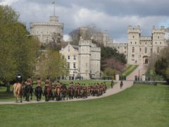 The King's Troop Royal Horse Artillery move up the Long Walk, Windsor Castle, Berkshire, during a rehearsal for the funeral of the Duke of Edinburgh. Picture date: Thursday April 15, 2021.