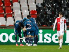 Alexandre Lacazette celebrates the fourth goal (Petr David Josek/AP)