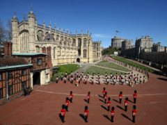 Members of the military outside St George's Chapel, Windsor Castle, Berkshire (Hannah McKay/PA)