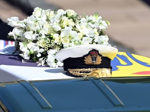 The Duke of Edinburgh's coffin, covered with his personal standard (Leon Neal/PA)