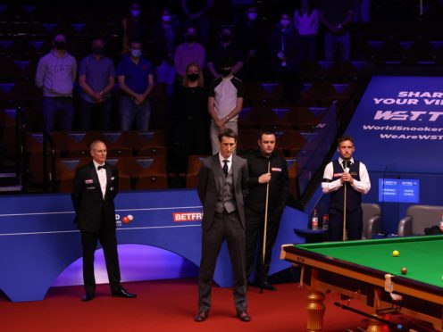 Players and spectators paid tribute to the Duke of Edinburgh at the Crucible (George Wood/PA)