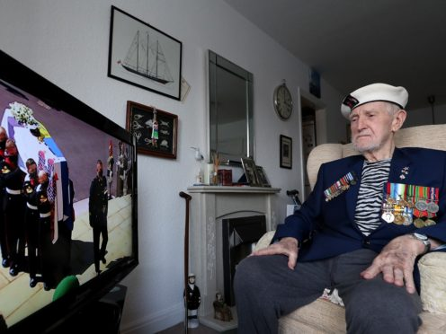 Malcolm Clerc, 94, watches the funeral of the Duke of Edinburgh (Martin Rickett/PA)