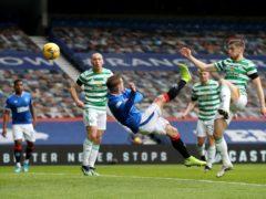Rangers' Steven Davis (centre) scores against Celtic (Jane Barlow/PA)