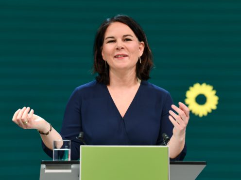 Germany's Green party co-leader Annalena Baerbock gives a speech during a digital announcement event in Berlin, Germany, where the party presented her as top candidate for chancellor (Annegret Hilse/Pool via AP)