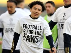 Leeds players made their feelings known about the Super League before playing Liverpool (Clive Brunskill/PA)