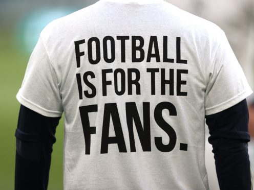 Leeds players wore 'Football Is For The Fans' shirts during a warm-up (Clive Brunskill/PA)