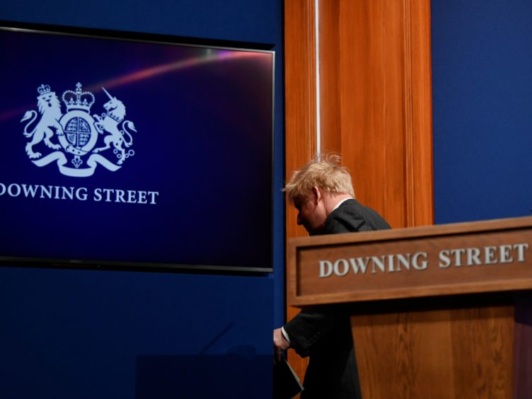 No 9 Downing Street has been kitted out with cameras and rows of chairs for journalists (Toby Melville/PA)