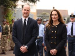 The Duke and Duchess of Cambridge talk to cadets during a visit to 282 (East Ham) Squadron, RAF Air Cadets, Cornwell VC Cadet Centre, in east London (PA)
