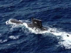 File photo of Indonesian Navy submarine KRI Nanggala in waters off East Java. The vessel has been missing since Wednesday with 53 people on board ((Eric Ireng/AP)