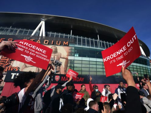Arsenal supporters protested against owner Stan Kroenke ahead of their Premier League defeat to Everton (John Walton/PA)