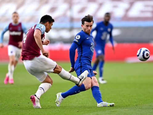 Fabian Balbuena caught Ben Chilwell as he cleared the ball (Justin Setterfield/PA)