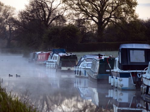 Mist rises on the canal at Biddulph in Staffordshire (Peter Byrne/PA)