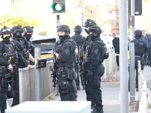Armed police at Crawley College, West Sussex (Yui Mok/PA)