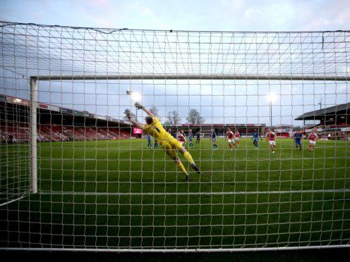 Chris Hussey's free-kick sealed Cheltenham's promotion to League One (David Davies/PA)