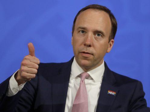 Health Secretary Matt Hancock said it was 'brilliant' to get his first coronavirus jab (Kirsty Wigglesworth/PA)