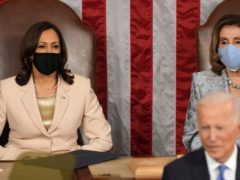 President Joe Biden speaks to a joint session of Congress, as Vice President Kamala Harris and House Speaker Nancy Pelosi listen. (Doug Mills/The New York Times/AP)