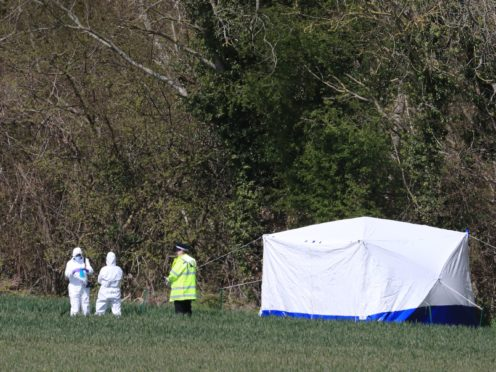 Police forensics investigators close to the scene in Snowdown, Kent, where the body of PCSO Julia James was found. Kent Police have launched a murder inquiry following the discovery of the 53-year-old community support officer on Tuesday (Gareth Fuller/PA)