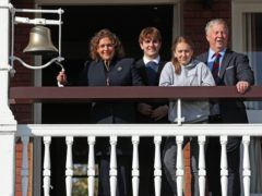 (L to R) Captain Sir Tom Moore's daughter Hannah Ingram-Moore, grandchildren Benjie and Georgia, and son-in-law Colin, launch the Captain Tom 100 charity challenge at Lord's cricket ground (Jonathan Brady/PA)