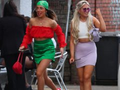 Revellers arrive at Circus nightclub in Bramley-Moore Dock, Liverpool, for a Covid safety pilot event (Peter Byrne/PA)