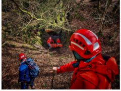 The 24-year-old being rescued at Finnich Glen (Lomond Mountain Rescue Team/PA)
