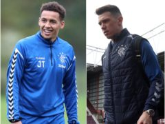 James Tavernier, left, is back on the training field but Ryan Jack has headed to London for scans (Jane Barlow/Andrew Milligan/PA)