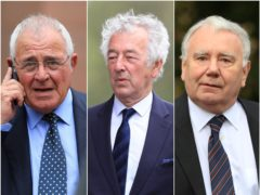 Left to right, Donald Denton, Alan Foster and Peter Metcalf are due to stand trial (PA)