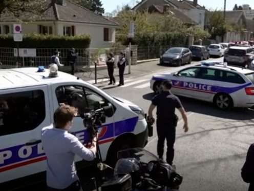 Police near the scene of a stabbing at a police station in Rambouillet, south-west of Paris(Clement Lanot via AP)