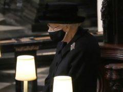 The Queen wore a statement brooch to the funeral of her husband of 73 years, the Duke of Edinburgh (Yui Mok/PA)