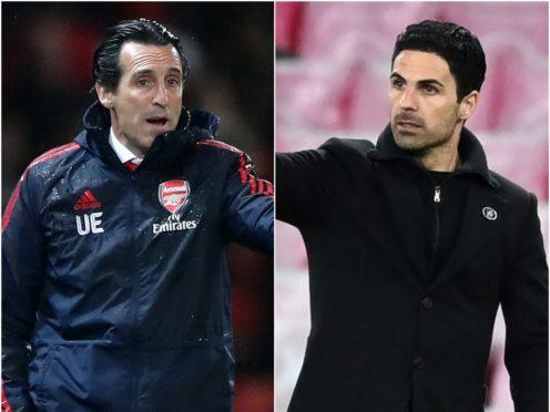 Former Arsenal head coach Unai Emery (left) comes up against his successor Mikel Arteta on Thursday night (Nick Potts/ Michael Regan/PA)