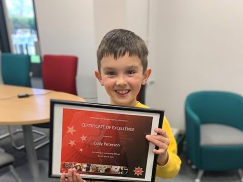 Cody Peterson was given a 'certificate of excellence' by the fire service (Hertfordshire Fire and Rescue Service)