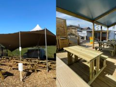 Outdoor seating areas at The Alma Inn (left) near Halifax and The Cornubia Inn in Hayle, Cornwall (Alma Inn and Miranda Knight/Cornubia Inn)