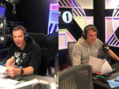 Scott Mills and Chris Stark record the Naked Attraction audio description (Studio Lambert/Channel 4/PA)