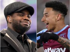 Micah Richards, left, and Jesse Lingard were enjoying themselves (John Walton/Laurence Griffiths/PA)