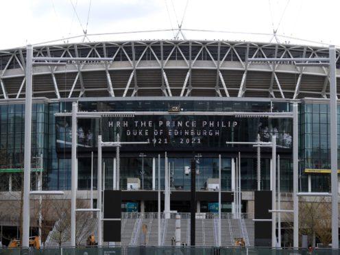 A tribute to the Duke of Edinburgh, on display at Wembley Stadium (Adam Davy/PA)