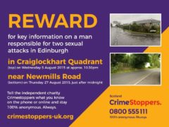 The poster offering a reward for information on the 2015 sex attacks in Edinburgh (Crimestoppers/PA)