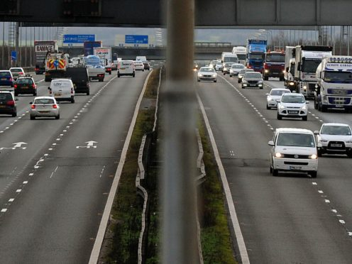 General view of the M1 motorway. The Insurance Fraud Bureau has highlighted the top crash for cash hotspots (Rui Vieira/PA)