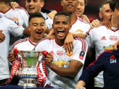 Antonio Valencia celebrates with the FA Cup after Manchester United's victory over Crystal Palace in the 2016 final (Mike Egerton/PA)