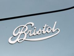 The badge on the rear of a Bristol Bullet in central London, as Bristol Cars unveils its first new model since 2004.