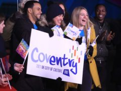 People in Hull celebrate Coventry becoming the 2021 UK City of Culture (Danny Lawson/PA)