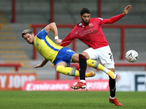 James Ball (left) fired the only goal of the game for Solihull Moors (Barrington Coombs/PA)