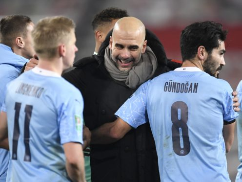 Manchester City manager Pep Guardiola paid tribute to his players after their title triumph (Peter Powell/PA)