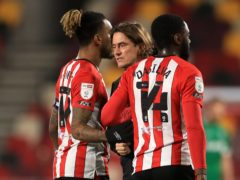 Brentford manager Thomas Frank with Ivan Toney, left (Adam Davy/PA)