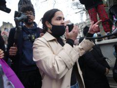 Nadia Whittome addresses a crowd in Parliament Square (Yui Mok/PA)